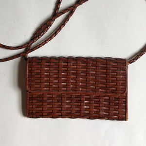 Talbots Woven Leather Purse Cutch Convertible